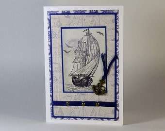 Handmade Greeting Card for man, Masculine Card for Dad, Father, Brother, Boyfriend, All Occasion Nautical Card For Him