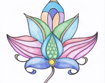 Persian Flowers colouring card for adults. Hand Drawn Adult Colouring Blank Card Print. Download
