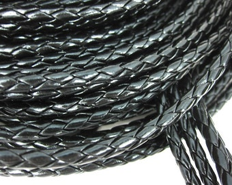 1 m braided art leather strap 4 mm - black