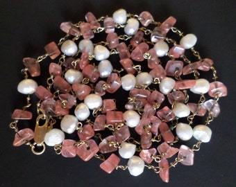 Vintage Natural Quarts and Baroque Pearls Linked Necklace.