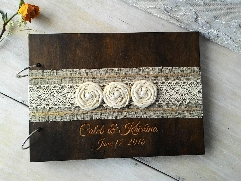 Wedding Guest Books Burlap Lace Rustic Guest Book Wooden