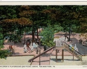 Pen Mar Park, Pennsylvania - Sweet postcard showing children on the slide and playing in the park. Adults at the Picnic Grove