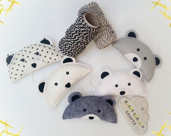 Little Monochrome Bear Garland, Nursery Decor, Baby Shower Gift, Monochrome
