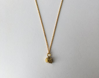 Diamond Skull Necklace, Sterling Silver, Gold Plated, Fine Jewelry, Handmade in Los Angeles