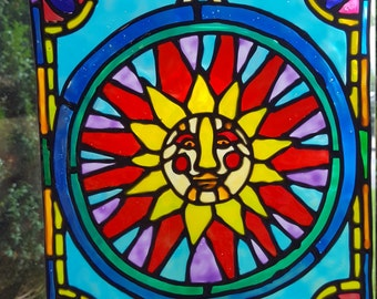 Sun stain glass cling
