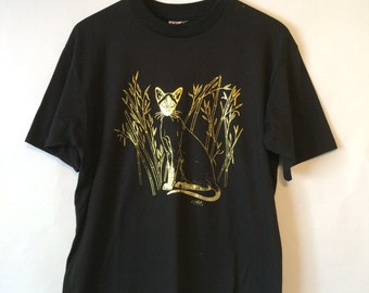90's Men's Black GOLD CAT T-Shirt with Gold Foil Cat Screen Size Large