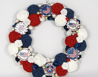 July 4th Wreath - Small Wreath - Fourth of July Decor - Holiday Decoration - Patriotic Decor -Americana -Stars & Stripes -Red White and Blue