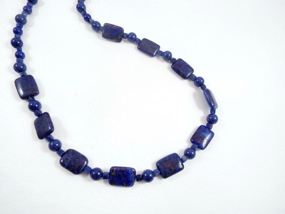 Dark blue lapis beaded necklace dark blue lapis gemstone for Birthstone beads for jewelry making