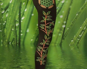 Leggings with flower of life and bamboo plant