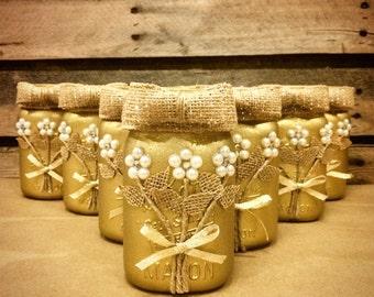 Gold Mason Jar, Wedding Mason Jar, Rustic Mason Jar, Rustic Wedding Decor, Wedding Centerpiece, 50th Anniversary Gift, Golden Anniversary