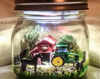 Farm theme LED Night Light, John Deere inspired night Light,  Green Tractor night light, Farm scene Mason Jar Light, farm animal night light