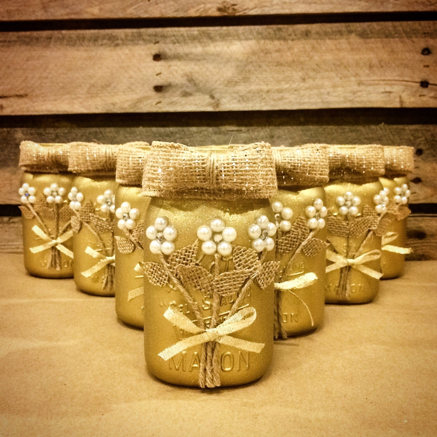 Rustic Jars For Wedding: Gold Mason Jar Wedding Mason Jar Rustic Mason Jar Rustic