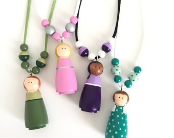 Custom Peg Doll Necklace - Wooden Bead Necklace - Girls Necklace