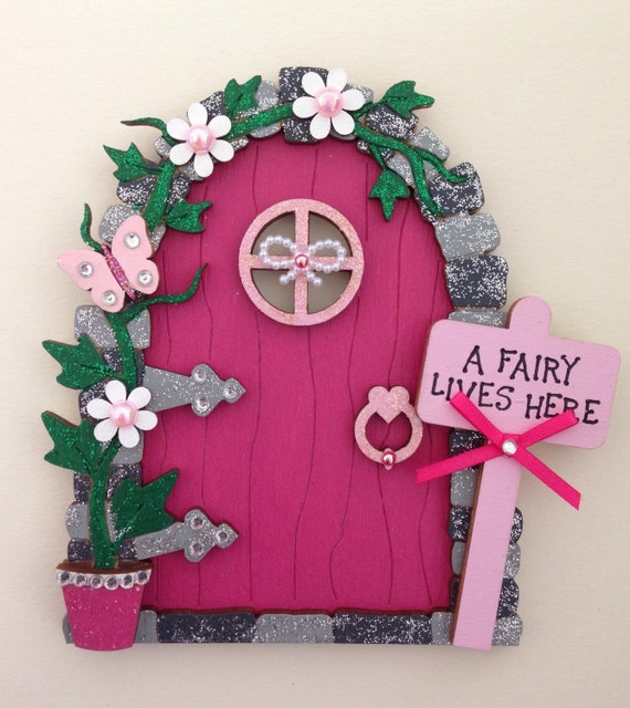 Items similar to hand painted pink wooden fairy door on etsy for Painted fairy doors