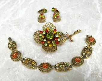 Vintage Art Set, ART Jewelry Set, Vintage Parure Set, Rhinestone Parure, Vintage Art Brooch, Vintage Art Earrings, Signed Art, Art Parure