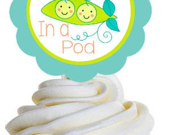 Cupcake Toppers, Instant Download Twin Baby Shower Cupcake Toppers, Set of (6) Two Peas In A Pod Twins Baby Shower Decorations