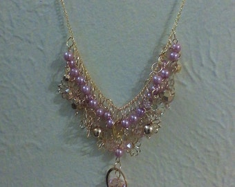 pink glass beaded necklace, jewelry, gold plated chain