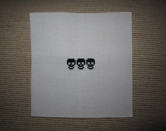 3 Black Skulls Cross Stitch