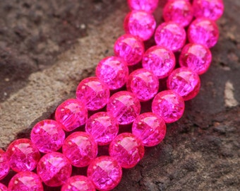 6mm Beads, Round Glass Beads, Bright Pink Beads, 6mm Rounds, 32 inch Strand, AA024B