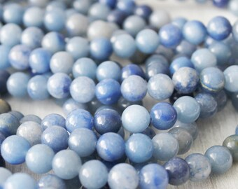 8mm Blue Aventurine round gemstone beads full strand ab quality blue beads jewelry supply