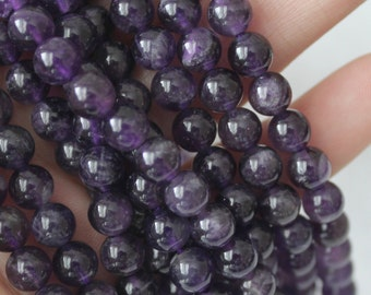 6mm Dark Amethyst Round, Purple Beads, Genuine Natural Gemstones, Full Strand A Quality