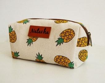 Monogram Bag,Pencil case pineapple ,pencil bag,monogram bags,zipper pouch,Back to School,Makeup Bags,Cosmetic Bags,gift for women,mom,teen