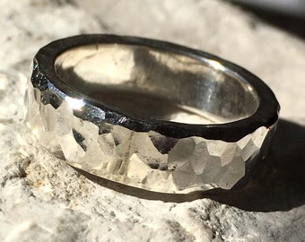 Hammered Finish Sterling Silver Band Size 6