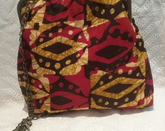 Bag with handle and African fabric