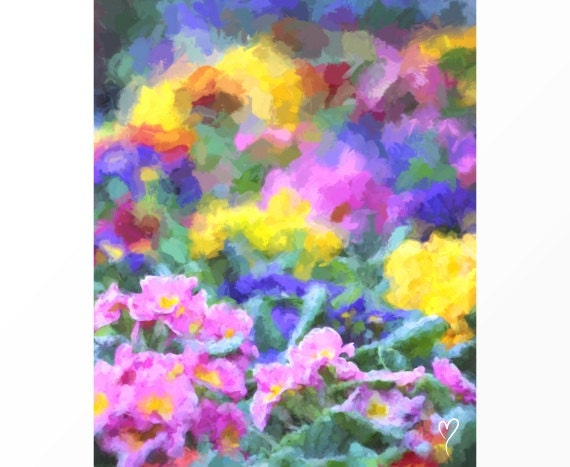 """FLOWER ART of a Row of Pink, Yellow and Purple Flowers, Flower Wall Art, Flower Picture , Flower Decor, Wall Art, """"Rainbow Happiness"""""""