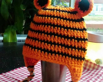 12 Month Tiger Hat - Crochet Hat- Tigger - Animal Hat - Baby Hat