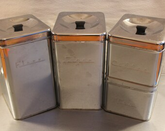 Vintage Metal Cannister Set
