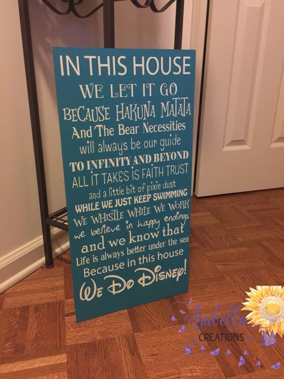 In This House We Do Disney 12x24 Hand Painted By Arabellaleigh