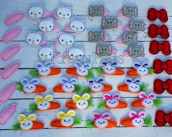 Easter bunny hair clips.Embroidered felt hair clips.Setof two clips