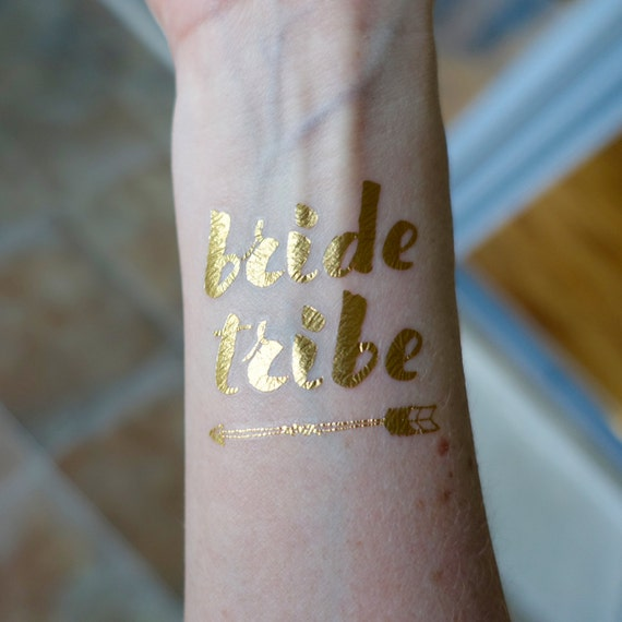 5x bride tribe temporary tattoos gold foil by whimsychuffed for Gold foil tattoo