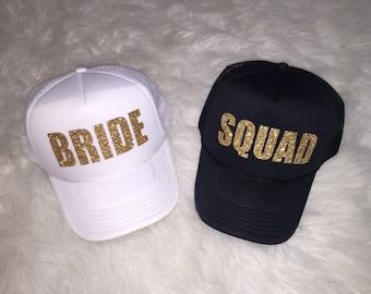 Bride caps, Bride hats, squad hats, squad caps, bachelorette caps, bacelorette hats, bachelorette party caps