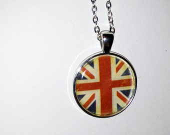 Brit, England love england love britain necklace, glass pendant