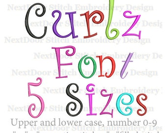 Curlz font embroidery design, swirly Alphabet  set,   BX files included ,  font-029c