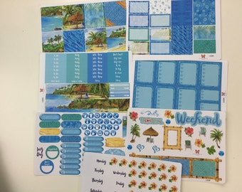 VERTICAL Bahama Breeze Planner Sticker Kit | Weekly Set | Full Week of Stickers L424A-G