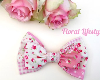Single Large Hair Bow - Patchwork