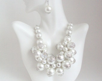 Cluster Pearl Necklace, White Pearl Bib Necklace, White Jewelry, Wedding Jewelry Set