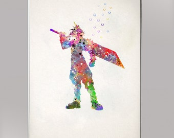 Cloud Final Fantasy, Watercolor Print  Print Children's Wall Art Home Decor Wall Hanging