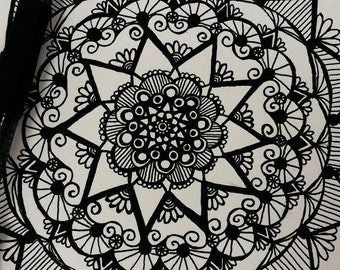 Custom Mandala Ink Drawing