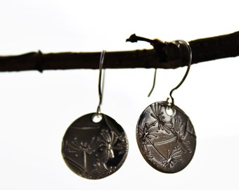 fine silver embossed earrings
