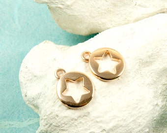4 x star pendant 10mm rose gold plated #3600