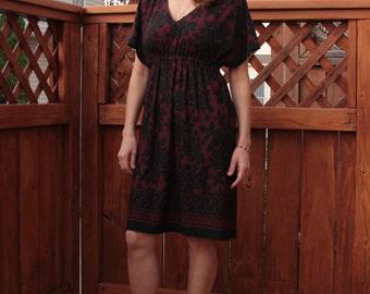 Kimono Dress / Black & Burgundy Dress / Knee Length Dress
