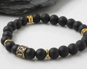 Onyx bracelet, Men's beaded bracelet, yoga Bracelet, stretch bracelet, Energy Bracelet, Healing Bracelet,Meditation bracelet.