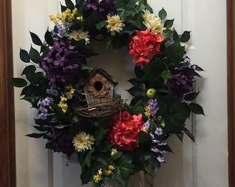 Birdhouse Wreath, Birdnest wreath, floral wreath, spring wreath, summer wreath