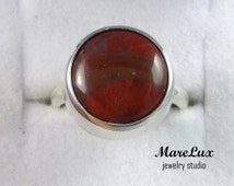 Natural Red Jasper Sterling Ring, Round Cabochon Jasper Ring, Red Jasper Stone Silver Ring, Jasper Ring, Dark Red  Jasper Ring, Jasper