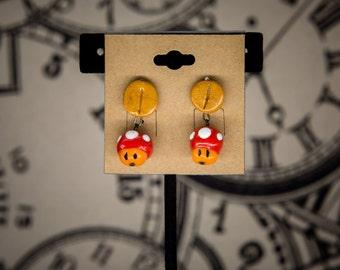 Toadstool/Coin (Mario) Mini-Earrings