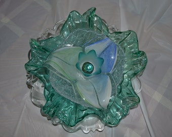 Aqua Blossom upcycled recycled vintage glass flower for Garden or yard decor - Clearance.... read